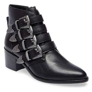 Steve Madden Billey Black Belted Ankle Boot